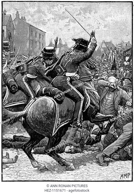 Peterloo Massacre, Manchester, 16 August 1819. On 16th August 1819, soldiers of the 15th Hussars charging an unarmed crowd gathered on St Peter's Field in...