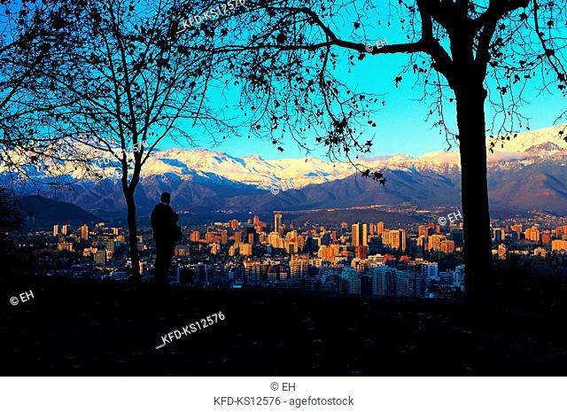 Chile, Santiago, General view of Northeast sector of the city of Santiago(Las Condes)and Los Andes snowed mountain range in the background from San Cristobal...