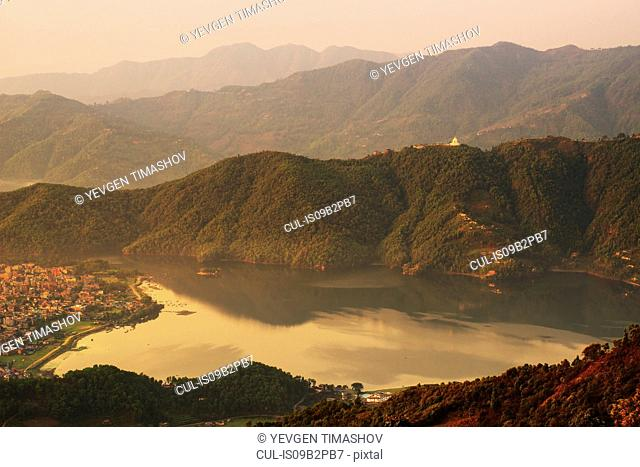 Fewa Lake, view on Shanti Stupa, Pokhara, Nepal