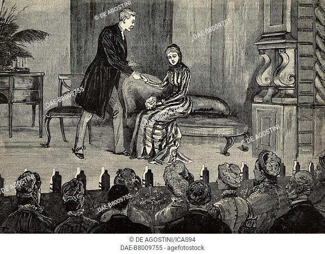 Private theatricals in Hampton Court Palace for princess Frederica's Convalescent Home, London, United Kingdom, engraving from The Illustrated London News