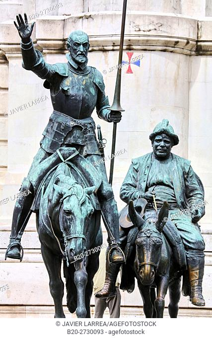 Monument to Miguel de Cervantes, Don Quijote and Sancho Panza statues at the Plaza España, Madrid, Spain, Europe