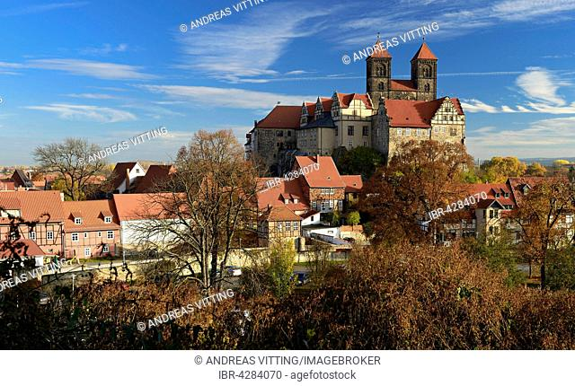 Historic centre with castle hill, collegiate church of St. Servatius, UNESCO, Quedlinburg, Saxony-Anhalt, Germany