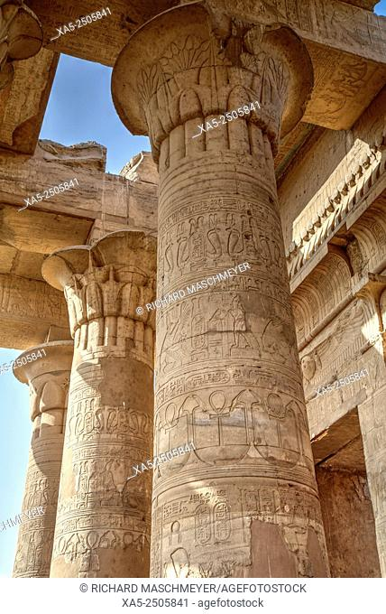 Bas-relief on Columns, Temple of Haroeris and Sobek, Kom Ombo, Egypt