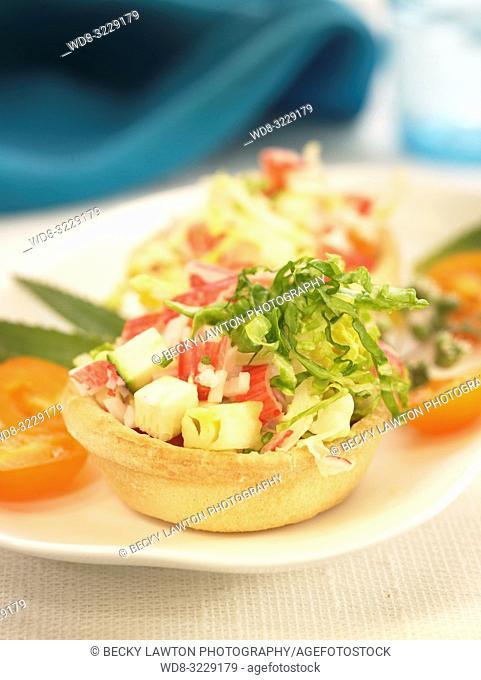 Tartaleta de cangrejo pina y verduras