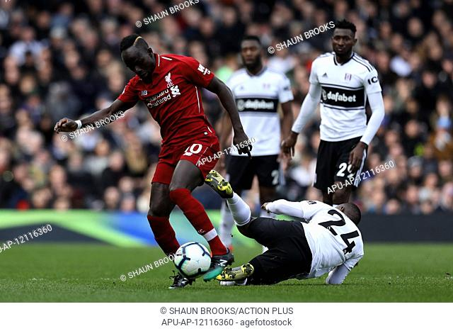 2019 EPL Premier League Football Fulham v Liverpool Mar 17th. 17th March 2019, Craven Cottage, London, England; EPL Premier League football