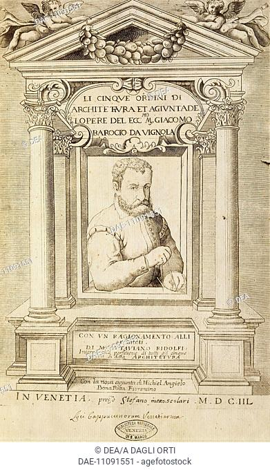 Rule of the Five Orders of Architecture, a treatise by Jacopo Barozzi da Vignola (1507-1573), title page, Venetian edition, 1648