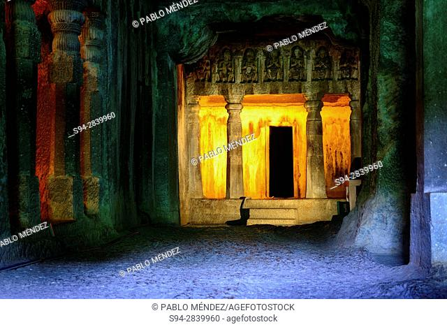 Interior of a Buddhist temple in Ajanta caves, Aurangabad, Maharastra, India