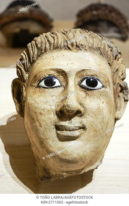 Sarcophagus top. Egyptian Ptolemaic collection. Louvre Museum. Paris. France