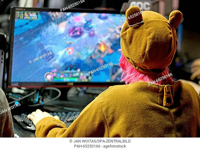 A young woman in a cat costume at the computer game festival 'DreamHack' in Leipzig, Germany, 22 January 2016. The Leipziger Messe is hosting the eSports event...