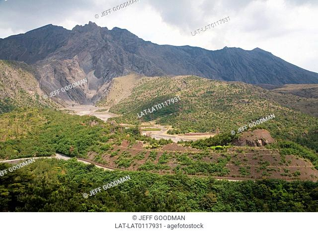 Sakurajima is an active volcano,and former island of the same name. It is a composite volcano with the summit split into three peaks,Kitadake northern peak