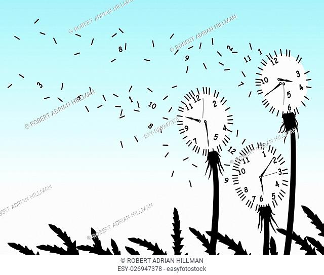 Abstract editable vector illustration of dandelion clockfaces blowing in the wind
