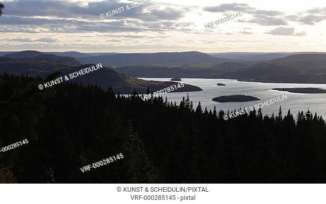 View from mountain Ringkallen over the beautiful landscape of the Swedish High Coast. Unesco World Heritage Höga Kusten, Västernorrlands Län, Sweden