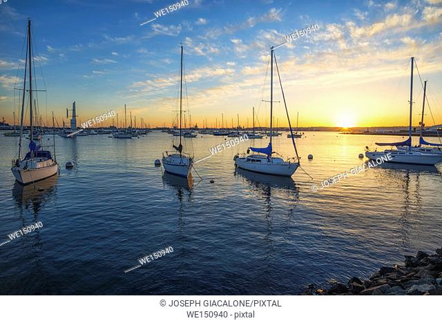 San Diego Harbor at sunset. San Diego, California, USA