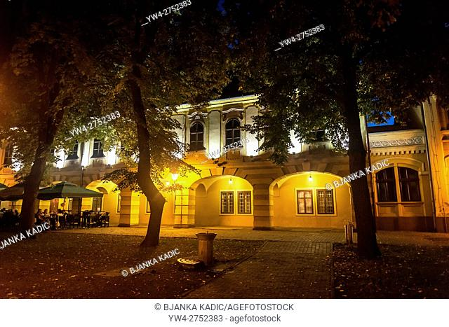 Atmospheric City Museum at night, Vinkovci, Slavonija, Croatia