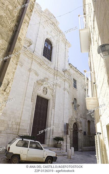 Monopoli in Puglia Italy on July 12, 2018. St Leonardo church