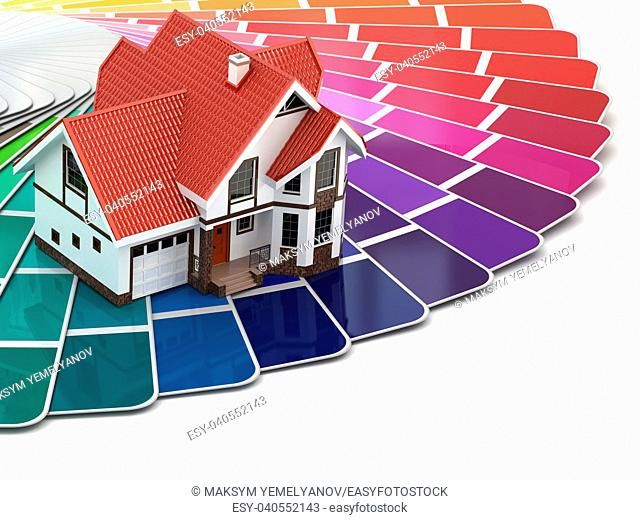 Construction concept. House and color palette. 3d