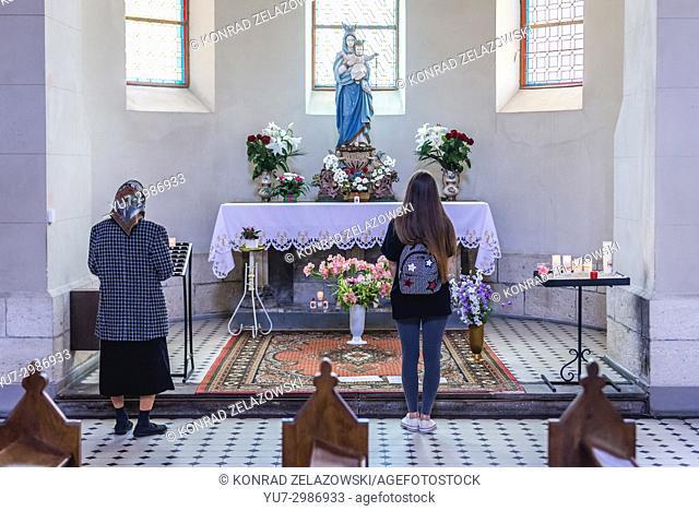 Side altar of Roman Catholic Saint Stanislaus Church in Chortkiv city in Ternopil Oblast of western Ukraine