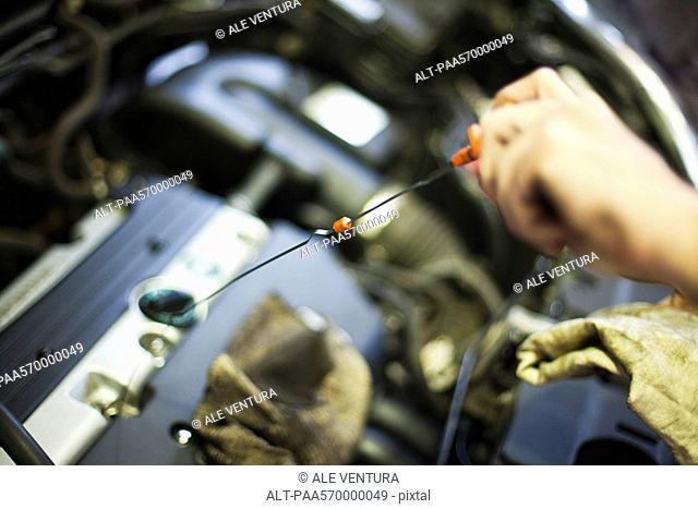 Checking car engine oil