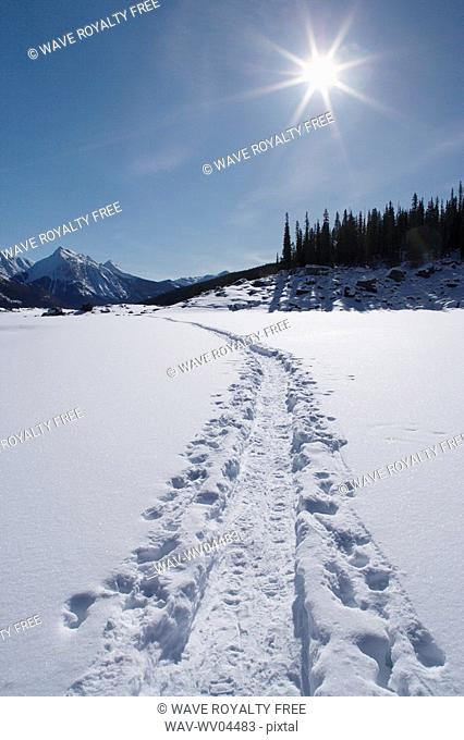 Medicine Lake in winter - Snowshoe Trail - Jasper National Park, Alberta, Canada