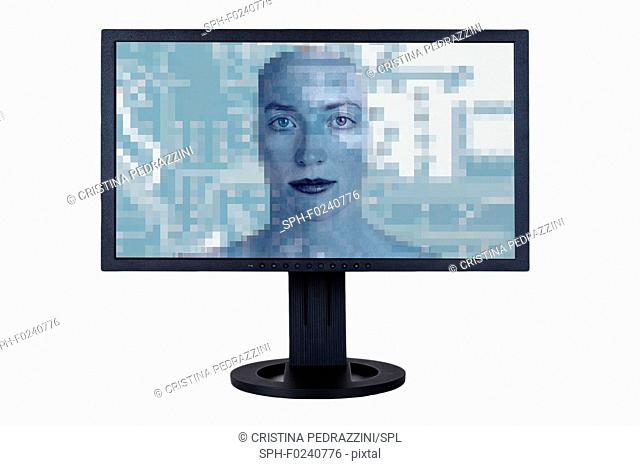 Eyes staring out of computer screen with superimposed circuit board. Conceptual image of internet surveillance and cyber security