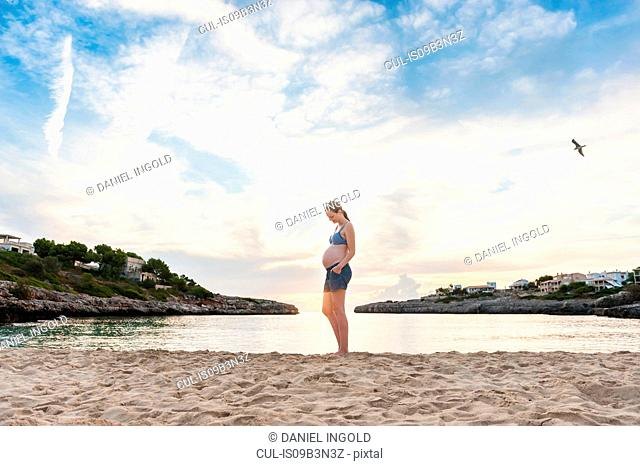 Pregnant woman standing on beach, looking at stomach