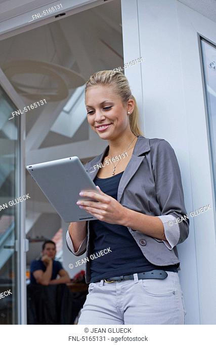 Young couple with ipad