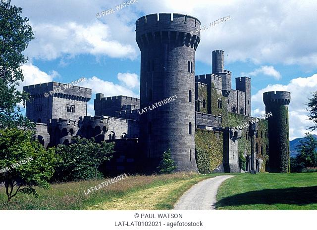 Penrhyn castle. Tall round keep. Battlements