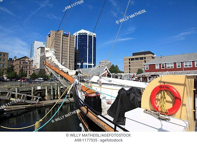 sail boat mooring at the Harbour Walk in the city of Halifax, Nova Scotia, Canada, North America