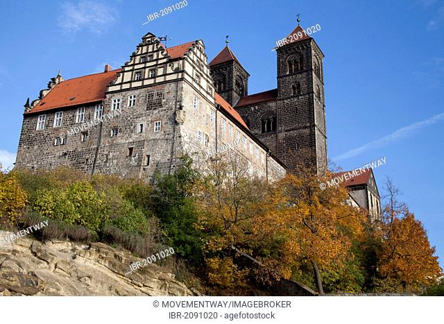 Collegiate Church of St. Servatius and castle on Schlossberg hill, Quedlinburg, UNESCO World Heritage Site, Harz area, Saxony-Anhalt, Germany, Europe