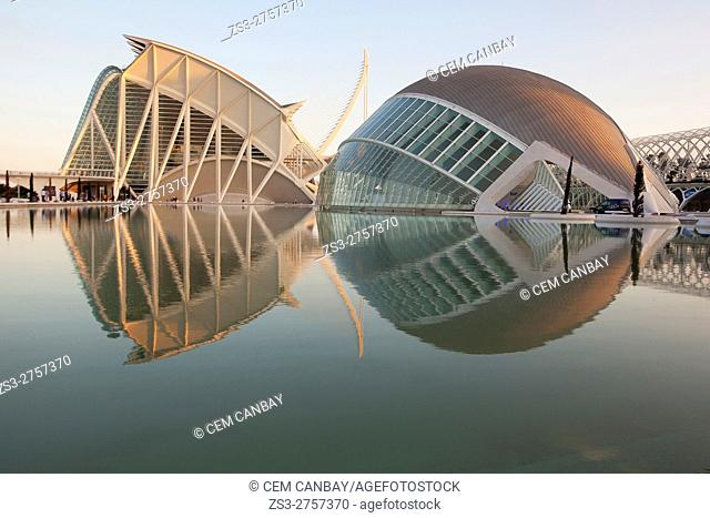 The Hemisferic and the Principe Felipe Sciences Museum in La Ciudad de las Artes y las Ciencias- City of Arts and Sciences at dusk, Valencia, Spain, Europe