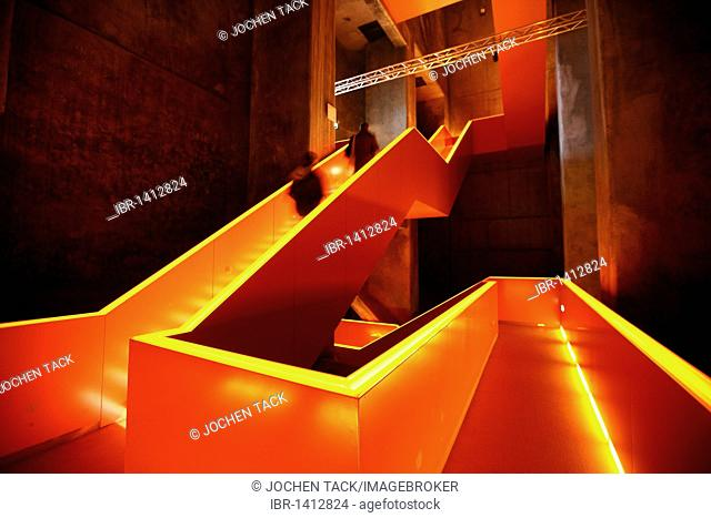 Red illuminated main staircase in the new Ruhrmuseum museum, opened in January 2010, Capital of Culture year, in the former coal washing plant of the Zeche...