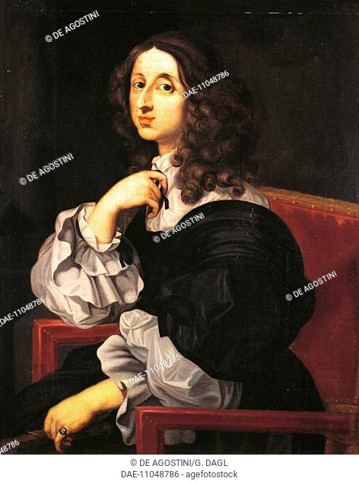Portrait of Christina of Sweden (Stockholm, 1626-Rome, 1689), Queen of Sweden from 1632. Painting by Sebastien Bourbon (1616-1671)