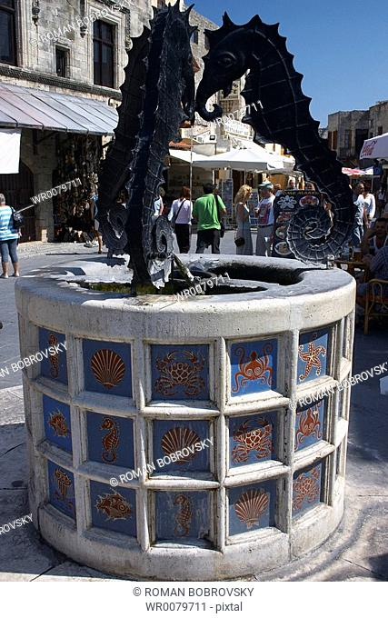 Fountain with seahorses, Platia Martyrion Evreon, Old Town Of Rhodes