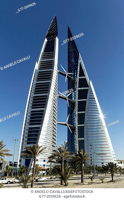 The Bahrain World Trade Center, the first skyscraper to integrate wind turbines into its design. Bahrain