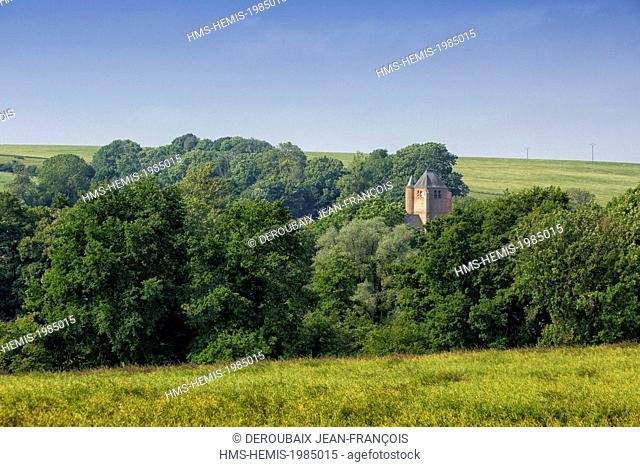 France, Aisne, Thierache region, grove landscape and church