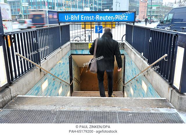 A man enters the Ernst Reuter Platz metro station in Berlin,Germany, 20 January 2016. A deadly incident occurred there last night