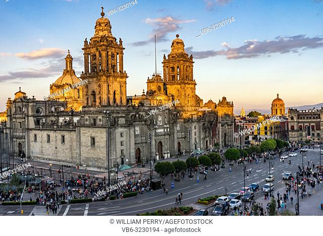Metropolitan Cathedral and President's Palace in Zocalo Center of Mexico City Cars Traffic Mexico Afternoon