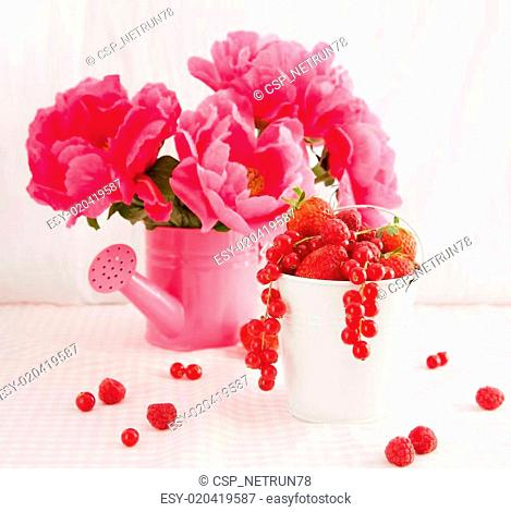 Red berries and peonies