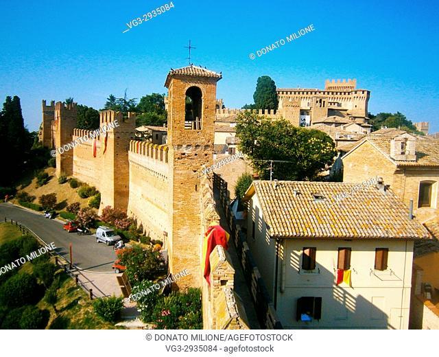 Gradara, Pesaro Urbino, Marche, Italy . The medieval village in the castle of Gradara
