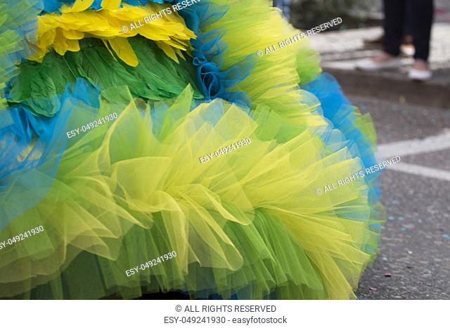 Close up of colorful dress of Carnival parade