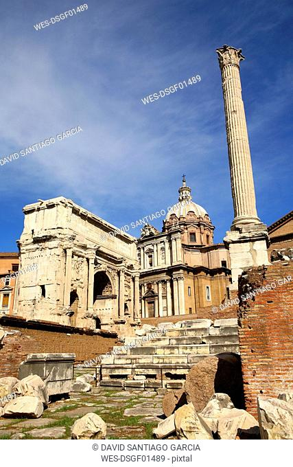 Italy, Rome, Temple of Vespasian and Titus and Church of Santi Luca e Martina at Forum Romanum
