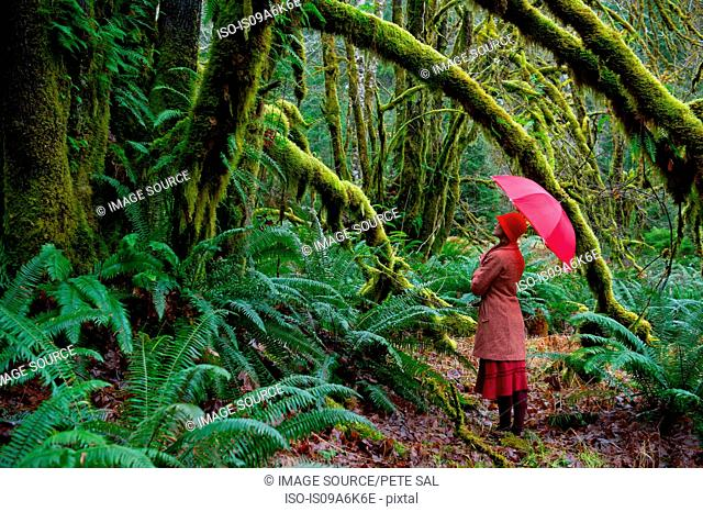 Woman with umbrella walking in forest