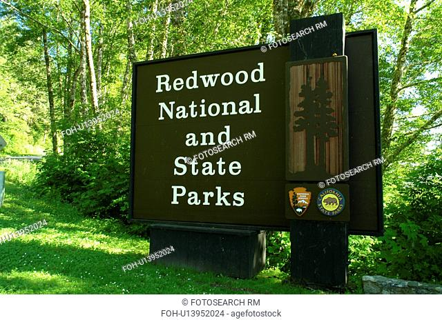 Redwood National and State Parks, CA, California, Pacific Ocean, entrance sign