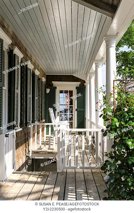 The porch of a home in Provincetown, Massachusetts, USA