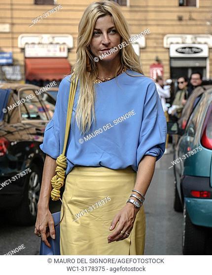 MILAN, Italy- September 19 2018: Ada Kokosar on the street during the Milan Fashion Week