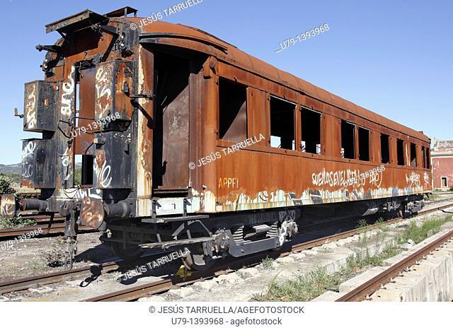 Old wagon goods, Mora la Nova, ADIF RENFE railway station, Tarragona, Catalonia, Spain