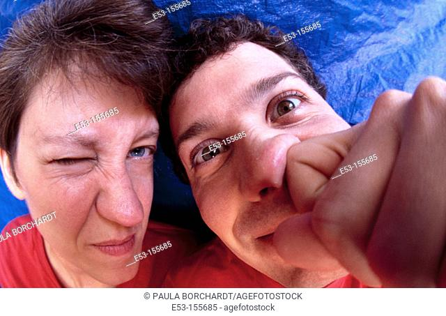 Portrait of couple acting silly