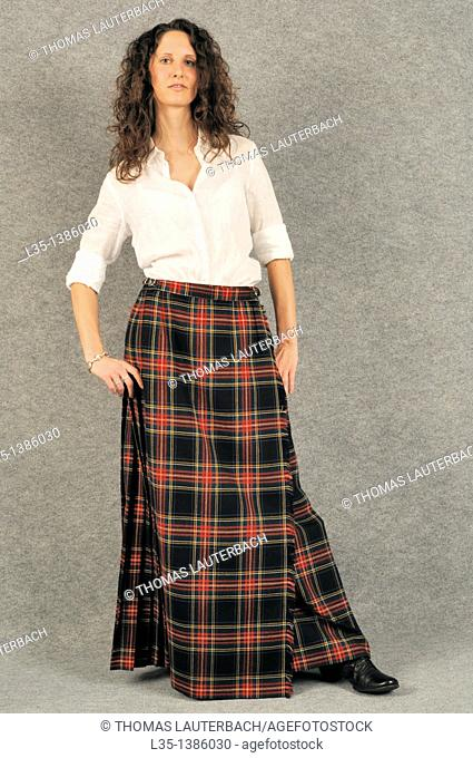 Young woman with a kilt