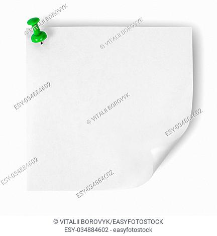 White sticker with the wrapped up corner pinned green office pin isolated on white background