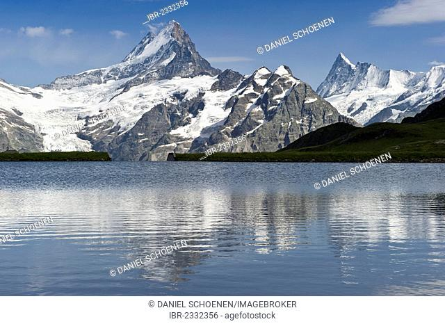 Bachalpsee Lake near Grindelwald, mountains Faulhorn and Finsteraarhorn at back, Bernese Oberland, Canton of Bern, Switzerland, Europe
